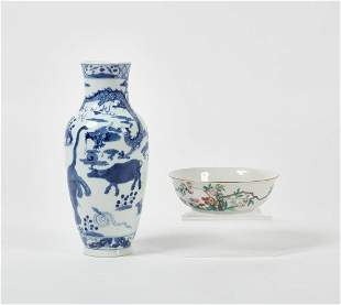 Chinese porcelain vase and Famille Rose bowl