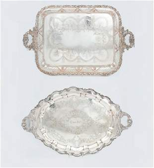 Two American and English electroplate tea trays