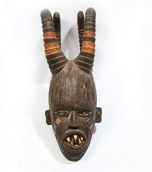 African horned helmet mask, probably Kuba, Congo