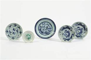 Five Chinese porcelain shallow bowls
