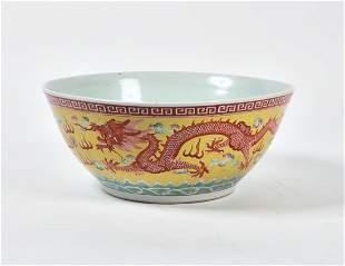 A large Chinese glazed porcelain bowl