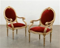 Pair Quatrain Neoclassical style armchairs