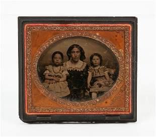 Ambrotype photo, bois durci frame