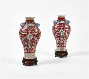 A pair of Chinese glazed porcelain vases