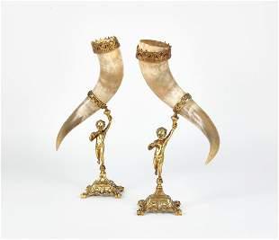 A pair of metal mounted horn figural cornucopia