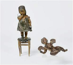 Bronze girl on a stool and model of Cupid