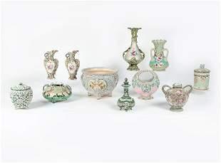 Eleven Japanese Satsuma porcelain table wares