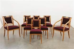 Eight Biedermeier parcel ebonized birch chairs