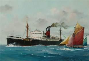Roger Chapelet Ville de Reims steam ship, gouache