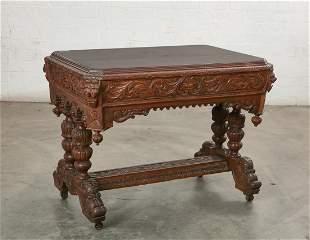 Renaissance Revival oak library table