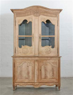 French provincial carved pine buffet a deux corps