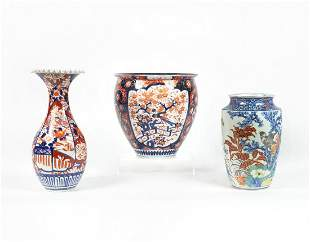 Three Japanese Imari porcelain table articles
