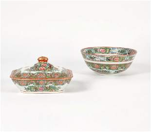 Chinese export rose medallion tureen and bowl