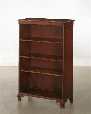 George III style carved mahogany open bookcase