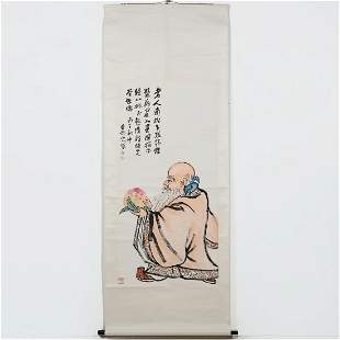 A Chinese watercolor on paper scroll painting
