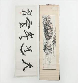 Chinese watercolor landscape, calligraphy scroll