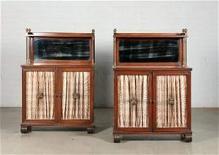 Pair Regency style mahogany side cupboards
