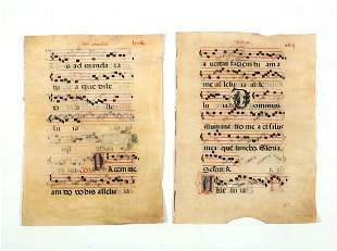 Two Medieval Illuminated Antiphonary leaves