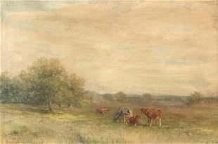 Thomas Bigelow Craig, Cattle grazing, watercolor