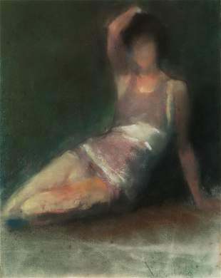 Val Costello, seated woman, charcoal and pastel