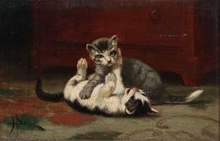 John Henry Dolph, Kittens, oil on canvas