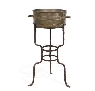 Charles II style bronze bushel and stand