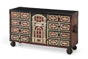 Spanish Baroque walnut table cabinet