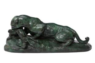 Antoine Bayre bronze panther and hare