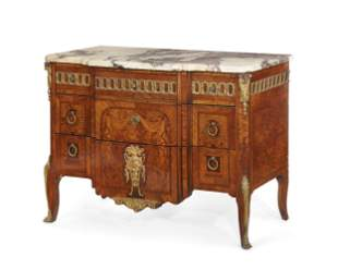 French gilt bronze marquetry commode