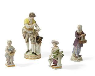 Four Meissen porcelain figures