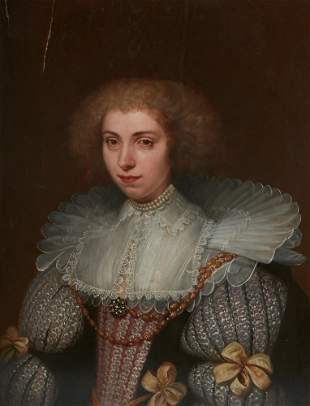 D van Santvoort, portrait of a noble lady, oil