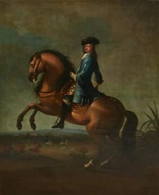 English School, equestrian gentleman, oil