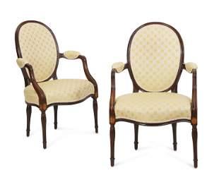 Pair George III mahogany armchairs