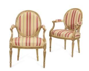 Pair George III giltwood armchairs