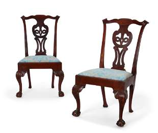 Pair Chippendale mahogany chairs