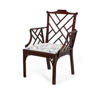 George III Chinese Chippendale style armchair