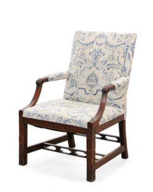 George III fret mahogany armchair