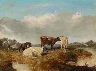 John F Herring, oil, Cattle in pasture