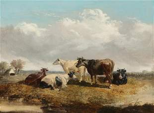 John F Herring, oil, Cows in pasture