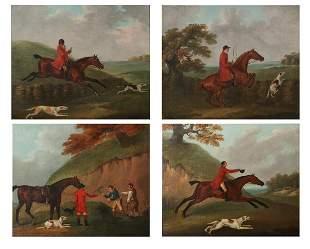 Four John Nost Sartorius oil fox hunt paintings