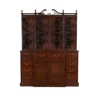 George III mahogany breakfront secretary bookcase