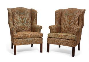 Pair George III style mahogany wing armchairs