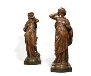E H Dumaige bronze figures Land & Sea