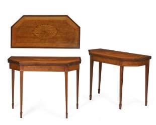 Pair Irish George III inlaid card tables