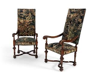 Pair Baroque style tapestry armchairs