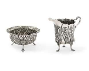 Irish Victorian sterling silver creamer sugar set