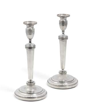 Pair of Empire silver candlesticks