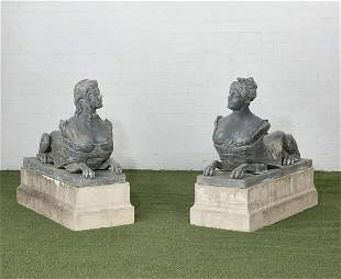 Pair of English lead garden sphinxes