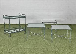 Three Brown Jordan Florentine tables and bar cart