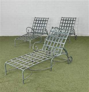 Three Brown Jordan Florentine chaises longue